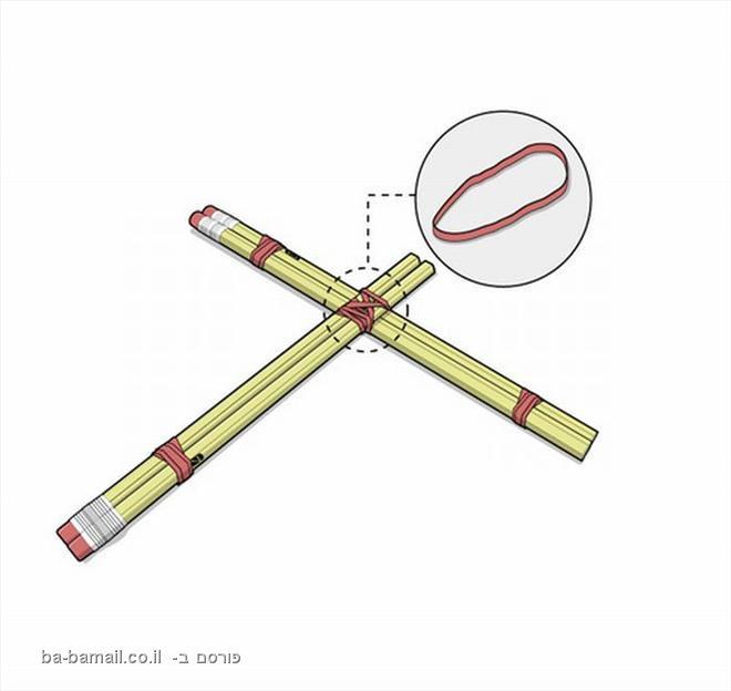עפרונות , גומייה, חץ וקשת