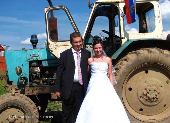 רוסיה, מוזר, חתונה, צילום, טרקטור
