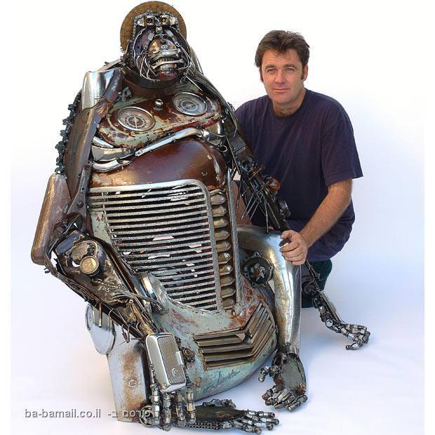 פסל, פסולת, מכוניות, חידוש, אמן, אמנות