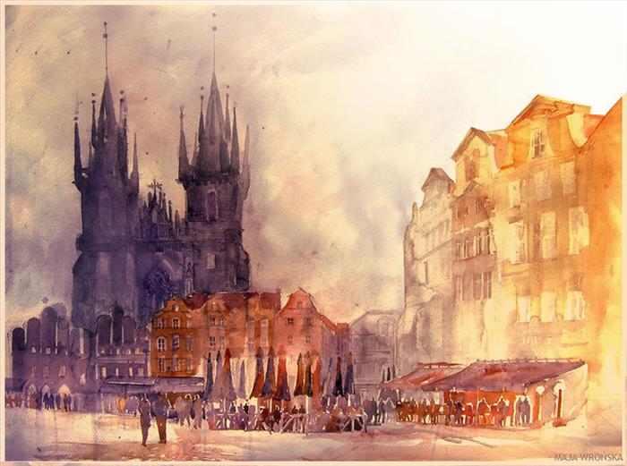 ציורי מים יפים של ערים בעולם