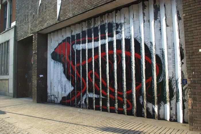 ציור קיר מדהים של ארנבת מתחלפת