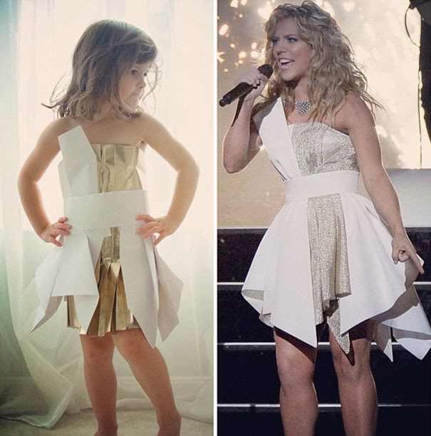 ילדה מעצבת שמלות