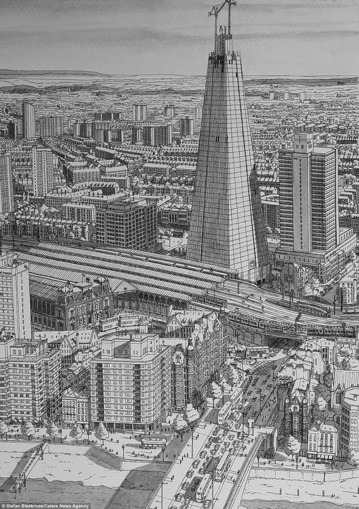 ציורי עיפרון של נופים עירוניים