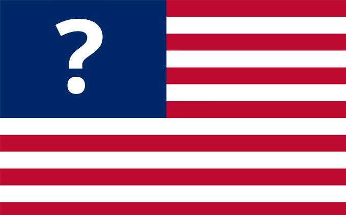 """דגל ארה""""ב עם סימן שאלה במקום כוכבים"""