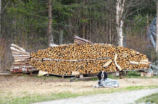 יצירות אמנות עם בולי עץ