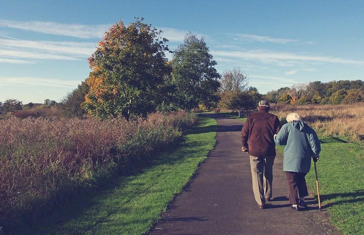 זוג קשישים הולכים בפארק