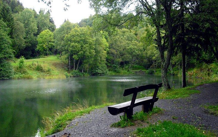 ספסל מול אגם