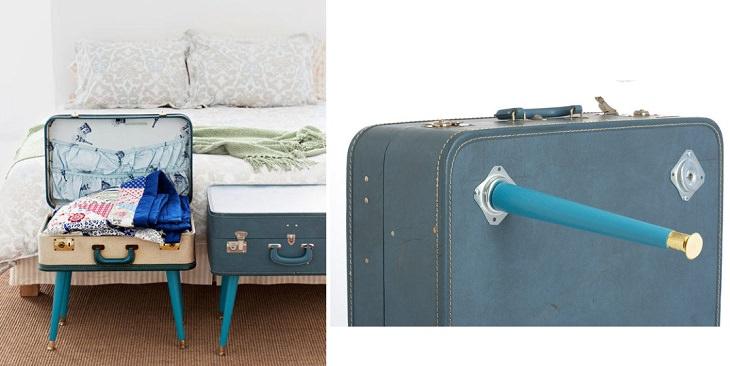 מתקן אחסון המורכב ממזוודה ו-4 רגליים