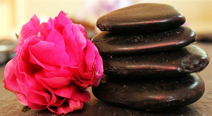 אבנים שטוחות מסודרות אחת על השנייה ליד פרח ורוד