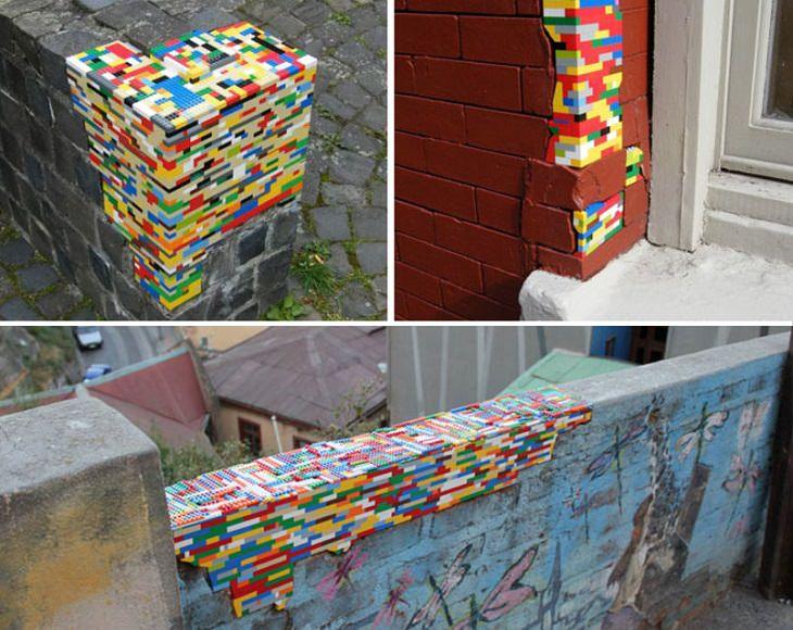 חומות עם חורים ממולאים באבני לגו צבעוניות
