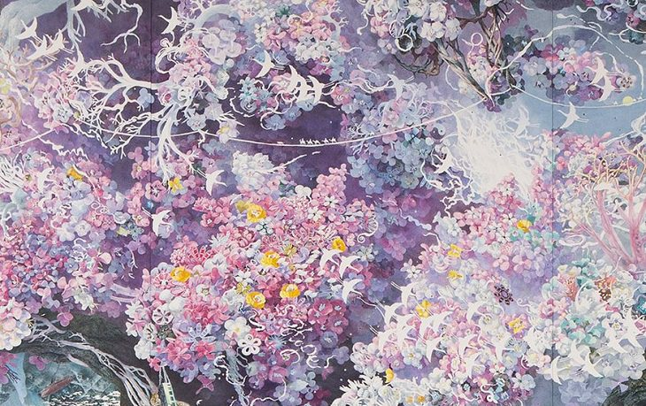 אמן יפני מצייר עם עט בלבד