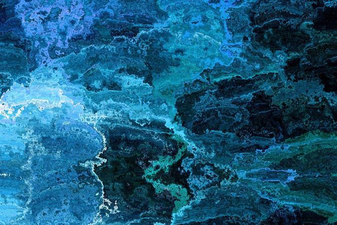 איור גרפי מופשט בגווני כחול ותכלת