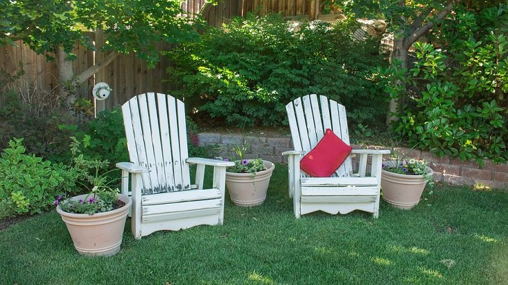שני כסאות עץ בחצר אחורית עם שיחים ועץ
