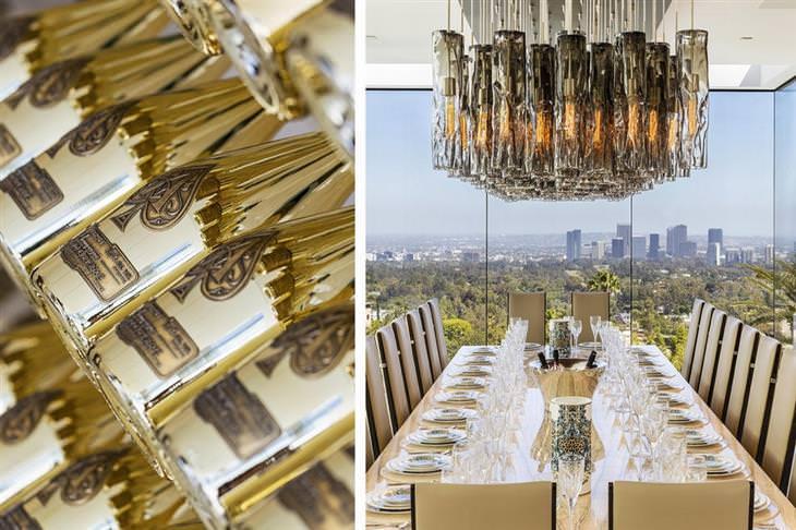 שולחן האוכל ובקבוקי יין