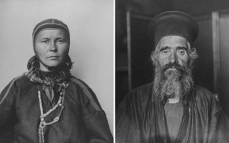 גבר מזוקן עם כובע שחור גדול וגלימה ואישה עם מטפחת לכיסוי השיער