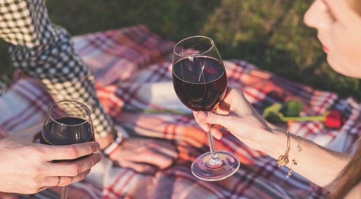 גבר ואישה שותים יין על שמיכה שפרושה על דשא