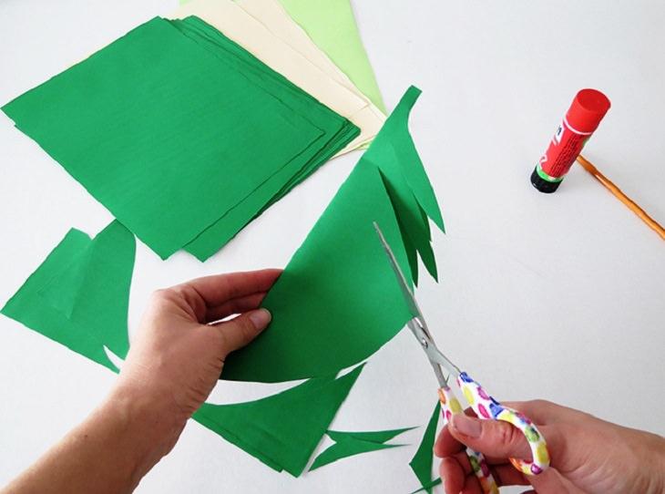 קישוטים לסוכה: שלבי הכנת שרשרת עלים מנייר