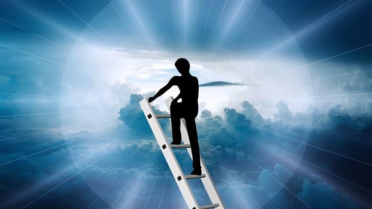 7 שלבי ההתפתחות האישית: איור של איש מטפס על סולם לשמים