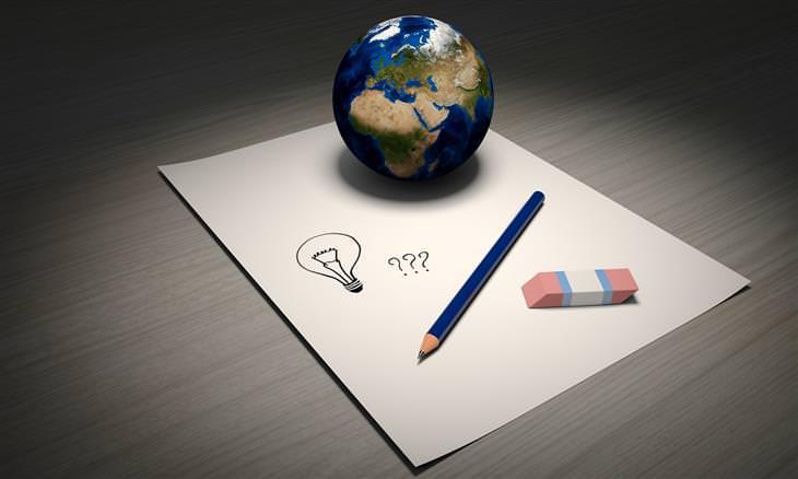 דף ועליו עיפרון, מחק, כדור הארץ וסימני שאלה