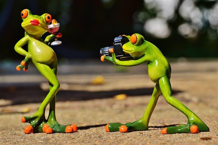 בובת צפרדע מצלמת בובת צפרדע אחרת שמדגמנת עם כוס שתייה ביד