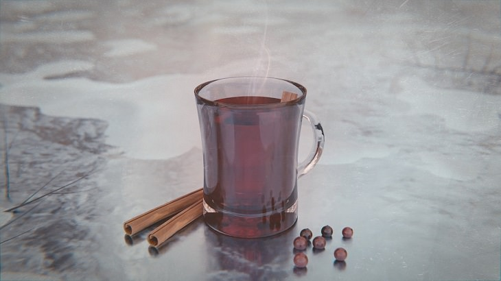 כוס יין אדום מהביל