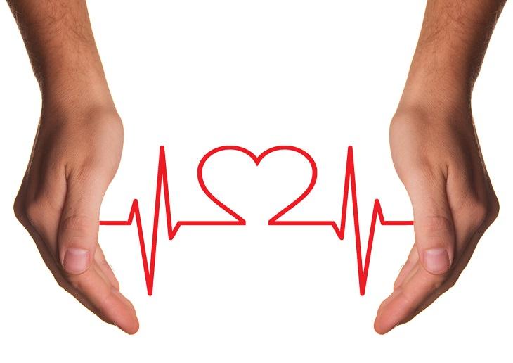 שתי ידיים תוחמות קו היוצר צורת לב