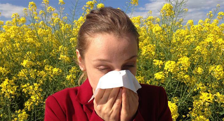 אישה מקנחת את האף בשדה פרחוני