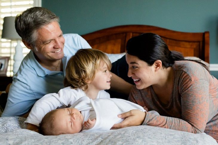 משפחה עם שני ילדים שוכבים במיטה