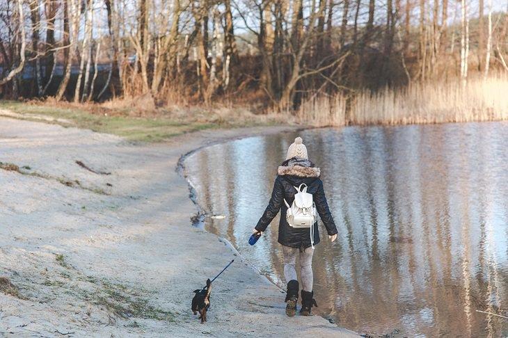 ילדה מטיילת עם כלב ליד אגם