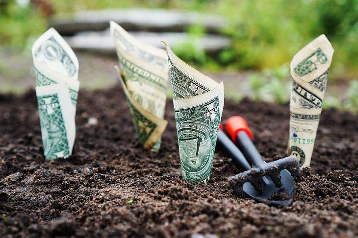 שטרות כסף טמונים באדמה לצד כלי חפירה