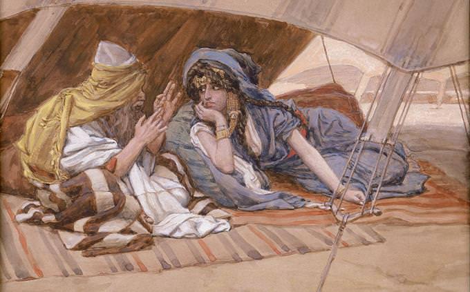 איור של אברהם ואשתו שרה מדברים בתוך אוהל