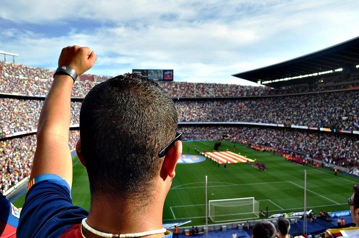 הדבקה רגשית: אוהד כדורגל מניף ידו באוויר באצטדיון מלא קהל