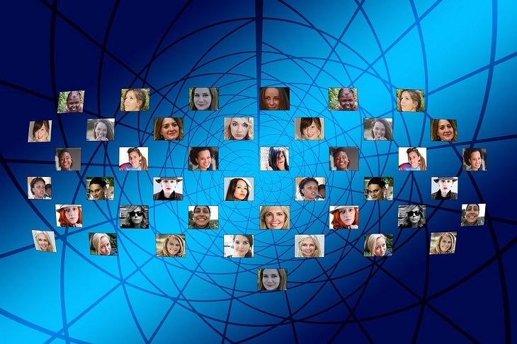 הדבקה רגשית: תמונות של פרצופים שונים סביב רשת של קווים חוצים