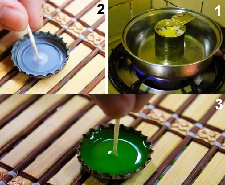 יצירות עם פקקים של בקבוקים: שלבי הכנת נר בפקק מתכת