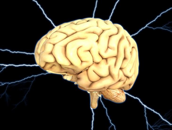 איור של מוח על רקע הבזקי חשמל
