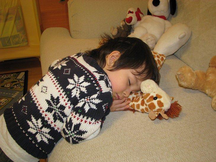 ילד שנרדם עם ראשו על בובת ג'ירפה שמונחת על ספה