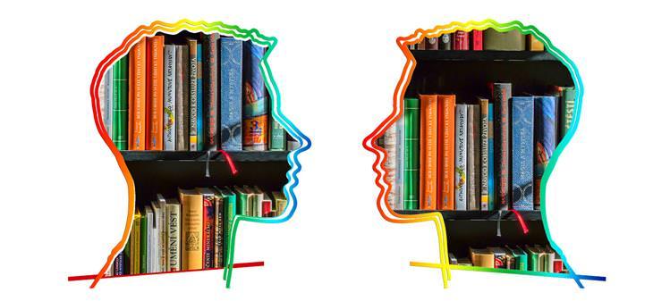 איורים של ראשים של אנשים אחד מול השני, ובתוכם ספרים