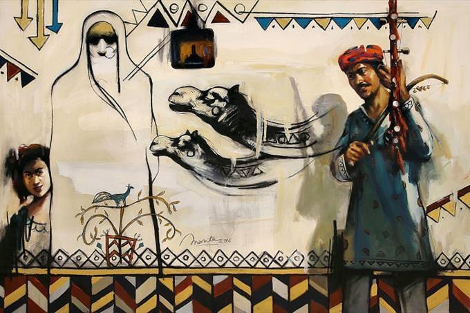 הרבה ציורים שונים של תרבות ערב, הכוללים איש עם כובע מסורתי, אישה בבורקה, ילדה קטנה, גמלים וצורות גיאומטריות