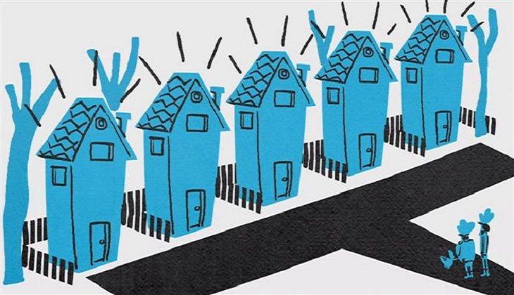 חידת אלברט איינשטיין: איור של 5 בתים ברחוב אחד