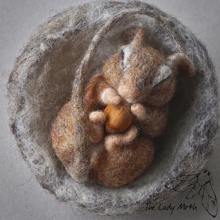 מוצרים מיוחדים מרקמת לבד: סנאי ישן אוחז אגוז בכפותיו