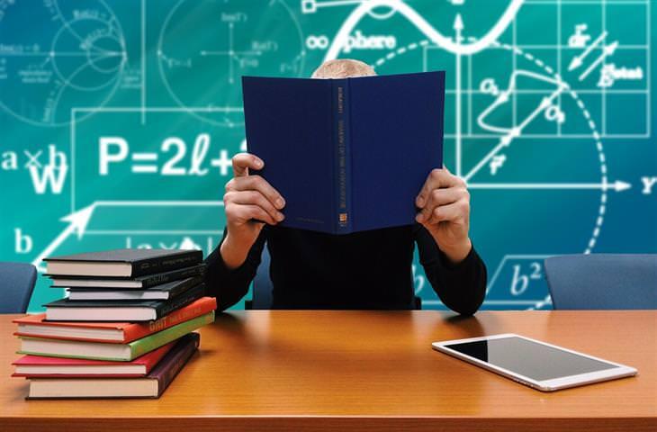 זכויות של הורים ותלמידים: אדם יושב עם ספר שמסתיר את פניו, ומאחוריו נוסחאות שונות