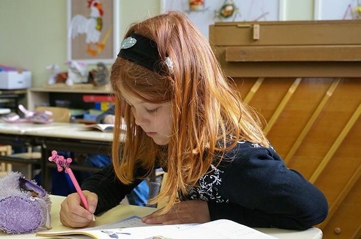 הסבר על בתי ספר בפינלנד: תלמידה כותבת במחברת