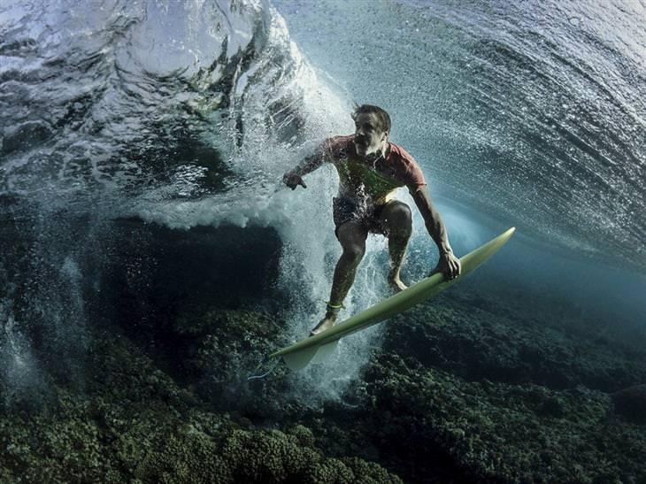 תמונות מתחרות צילומי טבע: גולש מים בצילום תת מימי רוכב על גלשן