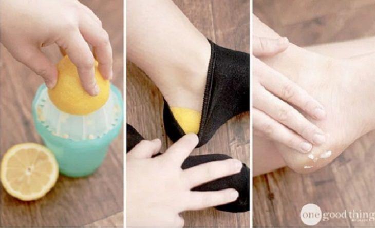 טיפים ועצות טיפוח לנשים: חצאי לימון מונחים על עקבים של רגל