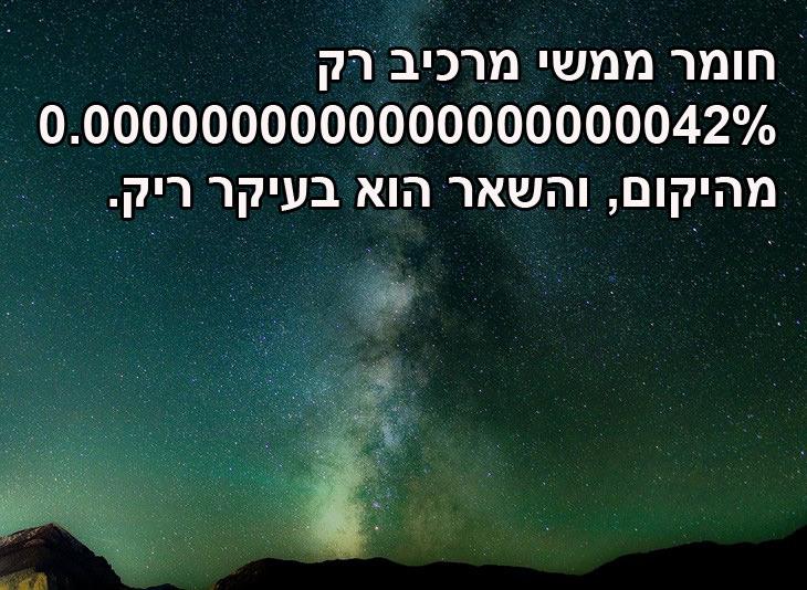 עובדות מרתקות על היקום: ממה היקום מורכב? חומר ממשי מרכיב רק 0.0000000000000000000042% מהיקום, מה שהופך אותו למקום ריק למדי.