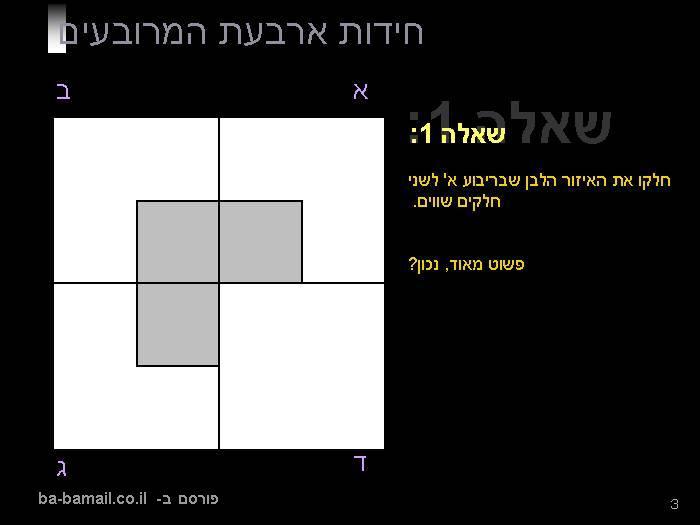 ארבעה מרובעים, ארבע חידות - מסקנה אחת