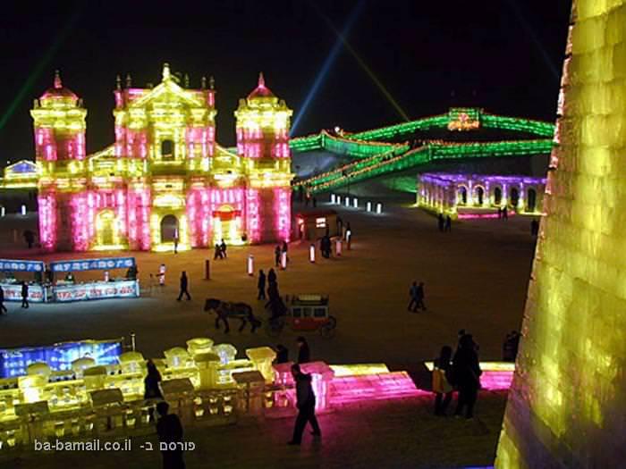 פסטיבל, קרח, סין, חרבין, פיסול, אמנות, מבנה, ניאונים, צבעוני