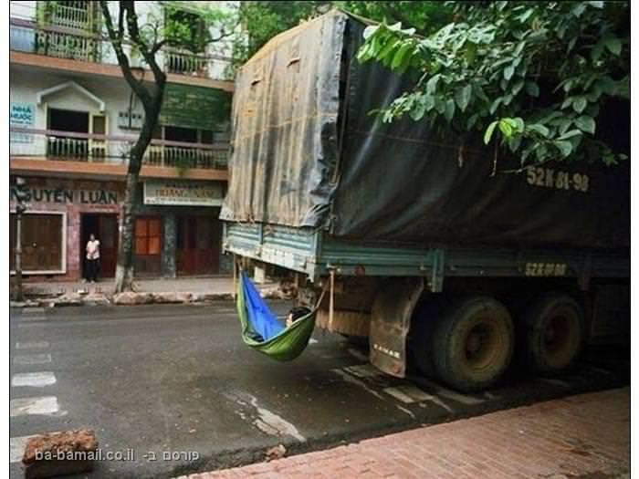 שינה, הרדמות, מקומות לישון, משאית, ערסל