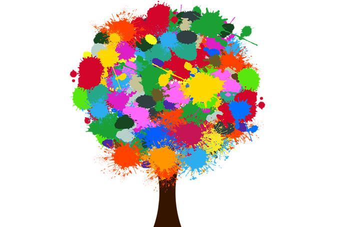 מבחן אישיות יסוד הנפש: עץ עם כתמי צבע במקום עלים