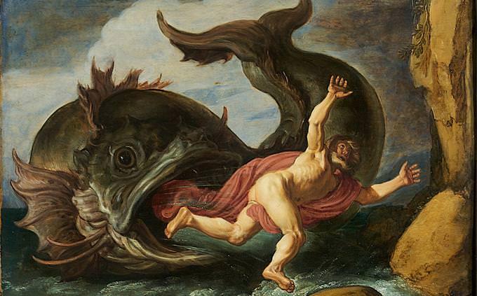 """חידון תנ""""ך: איור של יונה הנביא נשאב לפיו של הלווייתן"""